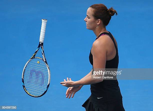 Jarmila Wolfe of Australia reacts in the women's single's match against Naomi Osaka of Japan during day two of the 2016 Hobart International at the...
