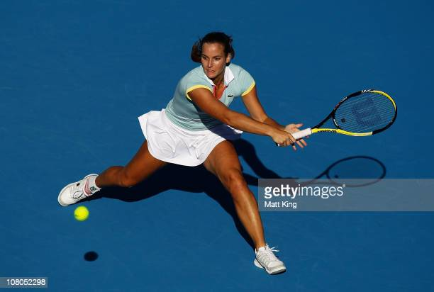 Jarmilla Groth of Australia plays a backhand during the Women's singles final match against Bethanie MattekSands of USA during day seven of the...