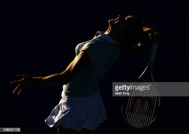 Jarmilla Groth of Australia serves during the Women's singles final match against Bethanie MattekSands of USA during day seven of the Moorilla Hobart...