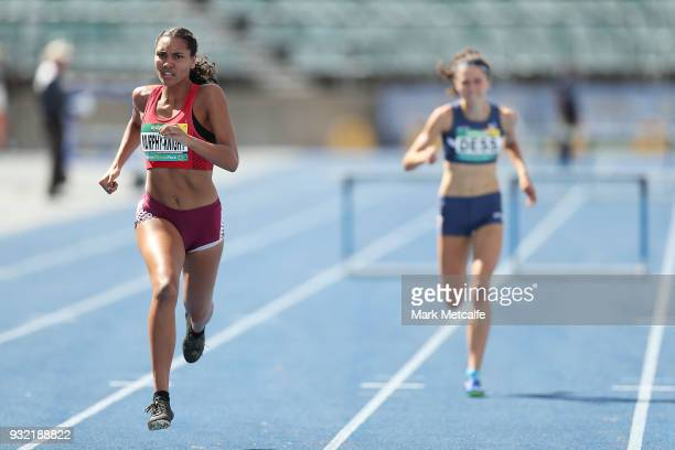 Jarmillia MurphyKnight of QLD competes in the Women's U20 400m Hurdles during day two of the Australian Junior Athletics Championships at Sydney...
