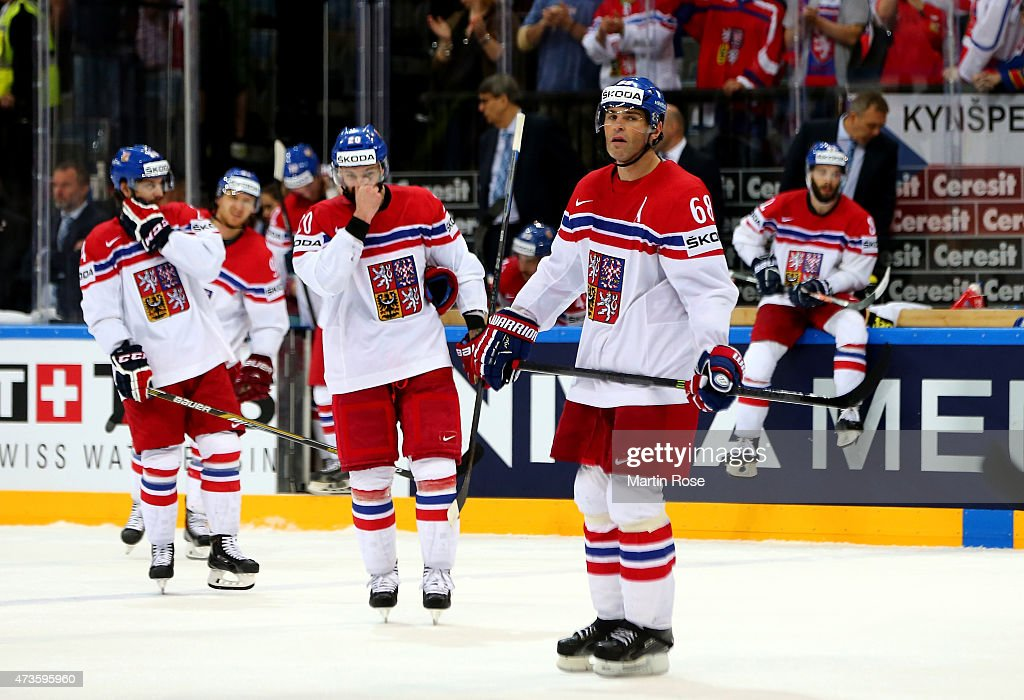 Jarmir Jagr #68 of Czech Republic looks dejected after the IIHF World Championship semi final match between Canada and Czech Republic at O2 Arena on May 16, 2015 in Prague, Czech Republic.