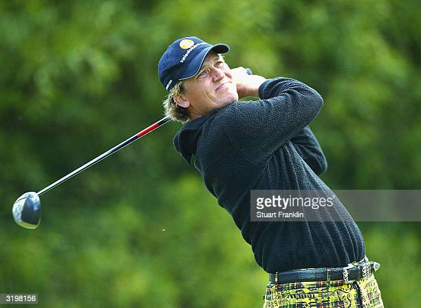 Jarmo Sandelin of Sweden tees off on the fifth hole during the second round at The Algarve Open de Portugal Golf at Le Meridien Penina Golf Club on...