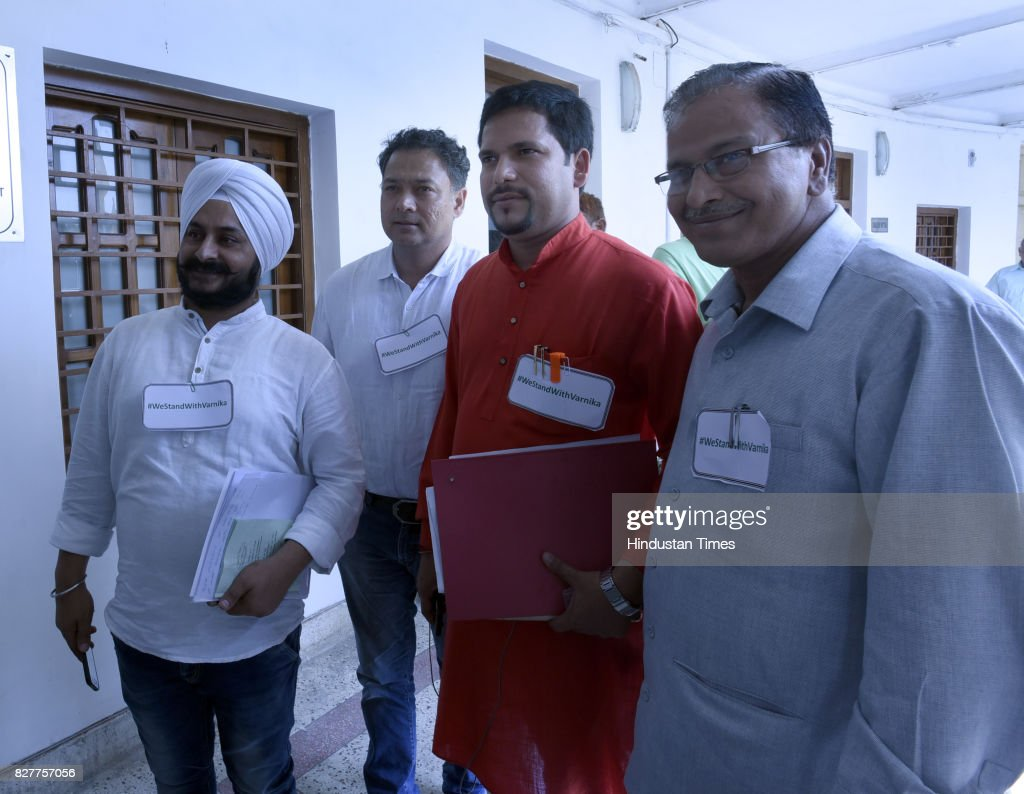 Jarnal Singh Saneev Jha Nitin Tyagi and other arrive for attending the Delhi Assembly Monsoon Session at Delhi Vidhan Sabha on August 8 2017 in New...