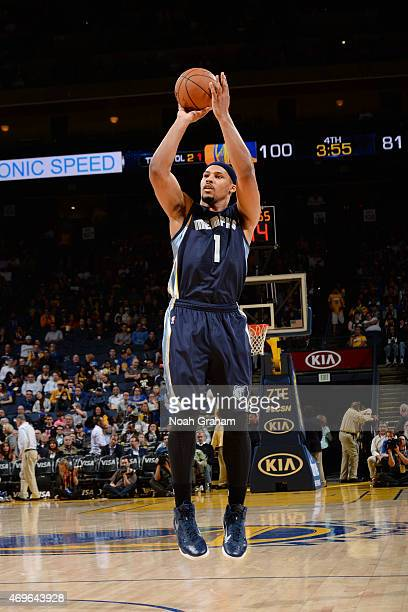 Jarnell Stokes of the Memphis Grizzlies shoots against the Golden State Warriors during the game on April 13 2015 at Oracle Arena in Oakland...