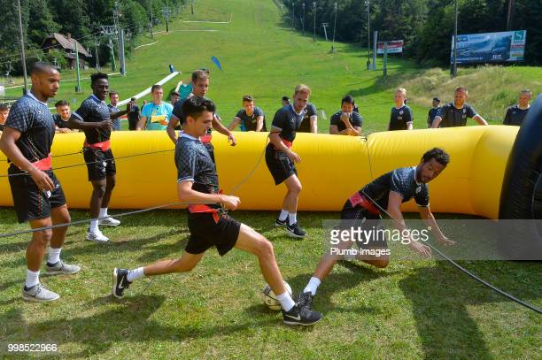 Jarno Libert with Koen Persoons during team bonding activities during the OHL Leuven training session on July 09 2018 in Maribor Slovenia