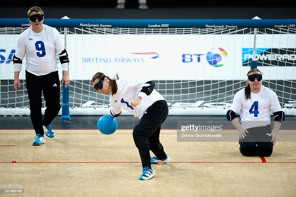 Jarno Mattila of Finland throws the ball during the Men's Team Goalball final on day 9 of the London 2012 Paralympic Games at The Copper Box on September 7, 2012 in London, England.