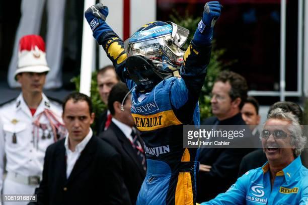 Jarno Trulli Grand Prix of Monaco Circuit de Monaco 23 May 2004 A victorious Jarno Trulli showing his joy at the finish of the 2004 Monaco Grand Prix...