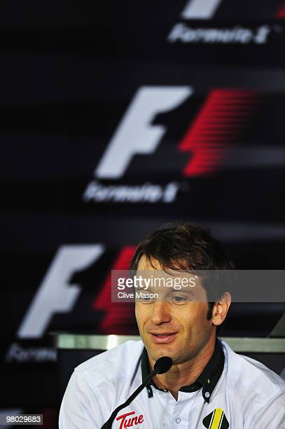 Jarno Trulli of Italy and Lotus attends the drivers press conference during previews to the Australian Formula One Grand Prix at the Albert Park...