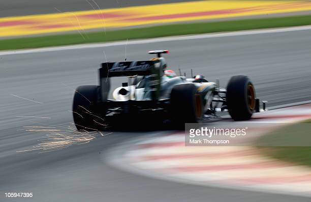 Jarno Trulli of Italy and Lotus drives during practice for the Korean Formula One Grand Prix at the Korea International Circuit on October 22 2010 in...