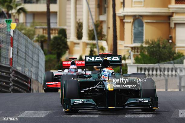 Jarno Trulli of Italy and Lotus drives during qualifying for the Monaco Formula One Grand Prix at the Monte Carlo Circuit on May 15 2010 in Monte...