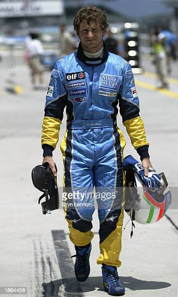 Jarno Trulli of Italy and Renault during second practice for the Malaysian Grand Prix at the Sepang International Circuit Kuala Lumpur Malaysia on...