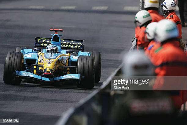 Jarno Trulli of Italy and Renault in action during practice for the Monaco F1 Grand Prix on May 22 in Monte Carlo Monaco