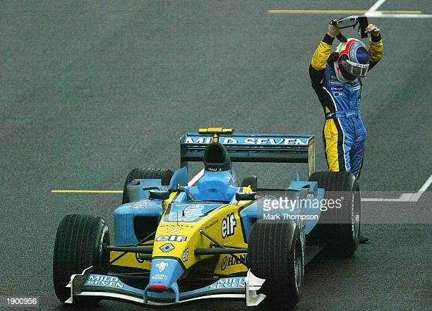Jarno Trulli of Italy and Renault retires from the Formula One Brazilian Grand Prix at Interlagos Sao Paulo Brazil on April 6 2003