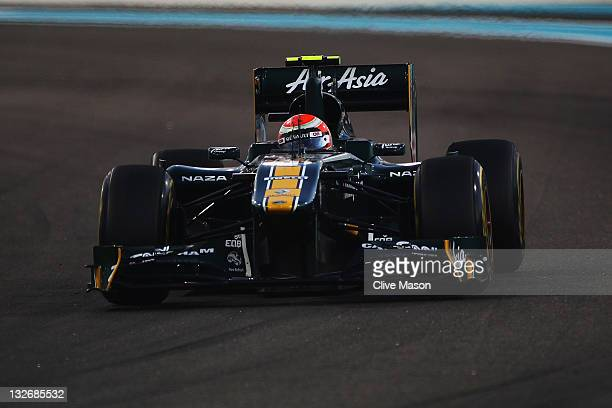 Jarno Trulli of Italy and Team Lotus drives during the Abu Dhabi Formula One Grand Prix at the Yas Marina Circuit on November 13 2011 in Abu Dhabi...