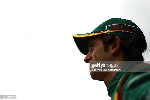 Jarno Trulli of Italy and Team Lotus poses for a photo during the previews to the Australian Formula One Grand Prix at the Albert Park Circuit on...