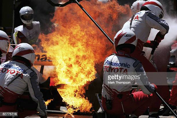 Jarno Trulli of Italy and Toyota catches fire in the pits during the Formula One Spanish Grand Prix at the Circuit de Catalunya on May 8 2005 in...