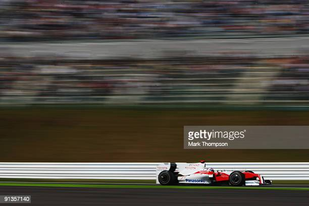 Jarno Trulli of Italy and Toyota drives in the final practice session prior to qualifying for the Japanese Formula One Grand Prix at Suzuka Circuit...