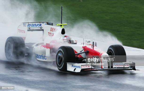 Jarno Trulli of Italy and Toyota drives the new Toyota TF109 during Formula One winter testing at the Autodromo Internacional do Algarve on January...