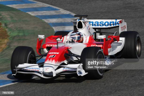 Jarno Trulli of Italy and Toyota in action during Formula One Testing at the Circuito de Jerez racetrack on January 14 2008 in Jerez De La Frontera...