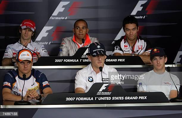Jarno Trulli of Italy and Toyota, Lewis Hamilton of Great Britain and McLaren Mercedes, Takuma Sato of Japan and Super Aguri, Heikki Kovalainen of...