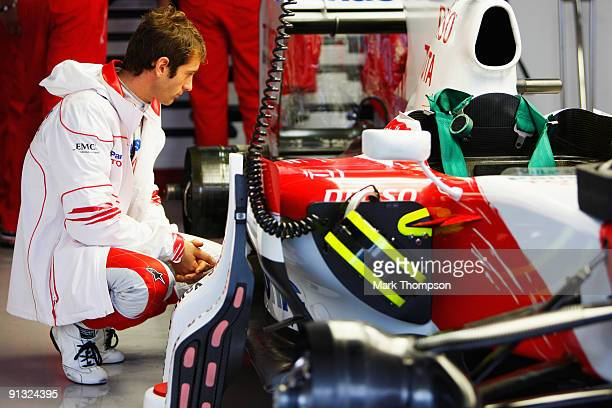 Jarno Trulli of Italy and Toyota prepares to drive during practice for the Japanese Formula One Grand Prix at Suzuka Circuit on October 2 2009 in...