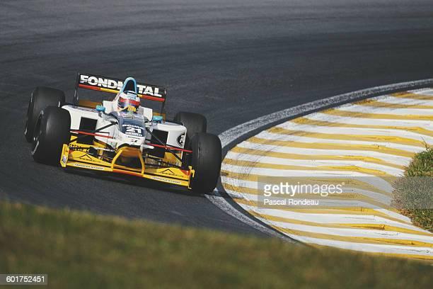 Jarno Trulli of Italy drives the Minardi Team Minardi Team M197 Hart 830 V8 during the Brazilian Grand Prix on 30 March 1997 at the Autodromo Jose...