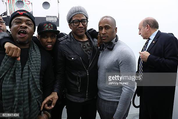 Jarobi White Consequence QTip and Ali Shaheed Muhammad attend Tribe Called Quest 'We Got It From Here' Pop Up Shop on November 11 2016 in New York...