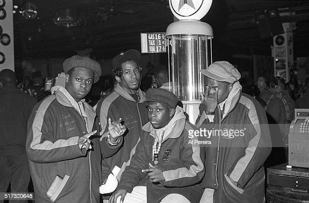 Jarobi White QTip Phife Dawg and Ali Shaheed Muhammad of the hip hop group 'A Tribe Called Quest' pose for a portrait session on April 4 1990 in New...
