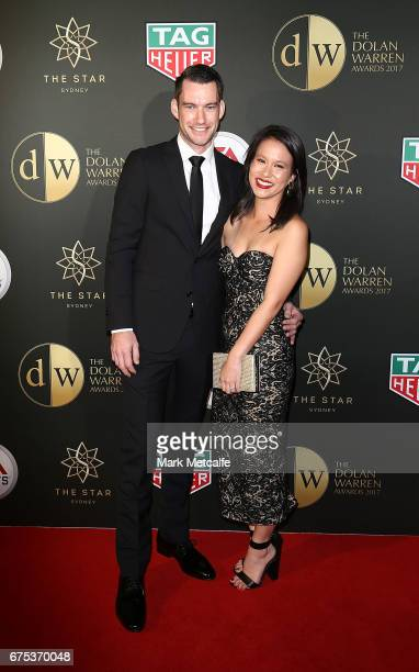 Jarod Gillet and Michelle Tobin arrive ahead of the FFA Dolan Warren Awards at The Star on May 1 2017 in Sydney Australia