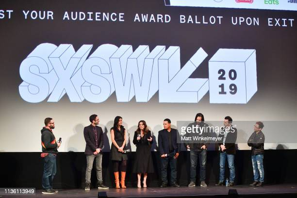 "Jarod Neece, Michael Chaves, Patricia Velásquez, Linda Cardellini, Raymond Cruz, Gary Dauberman, Emile Gladstone, and James Wan attend the ""The Curse..."