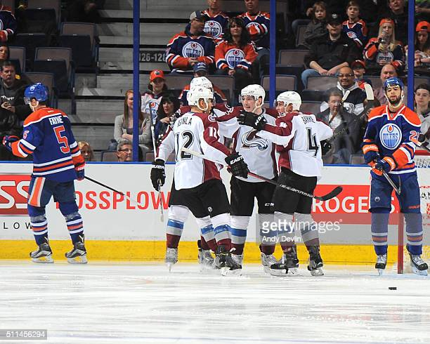 Jarome Iginla Matt Duchene and Tyson Barrie of the Colorado Avalanche celebrate after a goal during the game against the Edmonton Oilers on February...