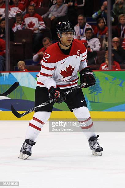 Jarome Iginla of Canada looks on during the ice hockey men's preliminary game between Switzerland and Canada on day 7 of the 2010 Winter Olympics at...