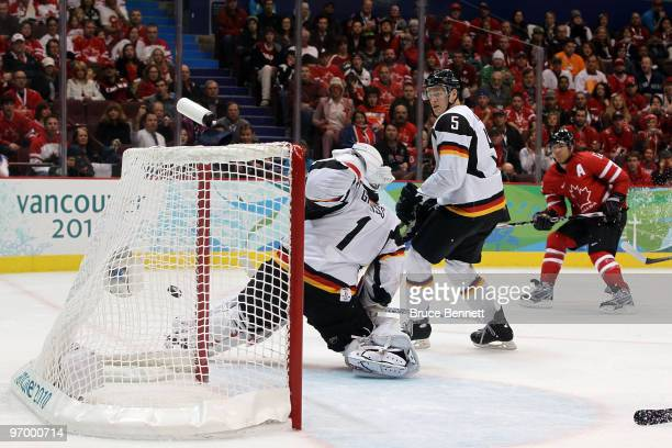 Jarome Iginla of Canada shoots the puck past Thomas Greiss of Germany for a goal in the second period during the ice hockey Men's Qualification...