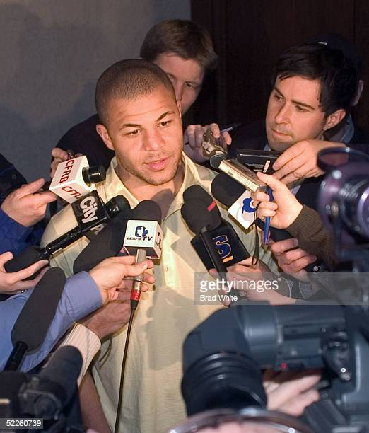 Jarome Iginla of the Calgary Flames after a second day of NHLPA meetings at the Westin Habour Castle hotel March 1 2005 in Toronto Ontario Canada