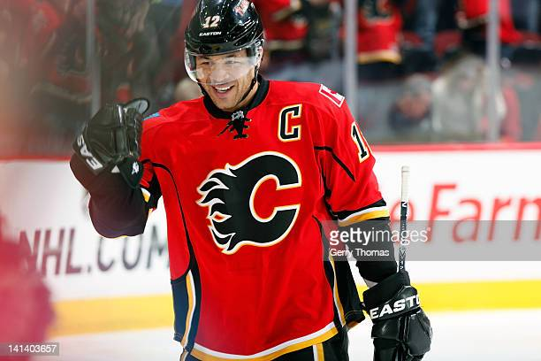 Jarome Iginla of the Calgary Flames celebrates a goal against the Phoenix Coyotes on March 15 2012 at the Scotiabank Saddledome in Calgary Alberta...