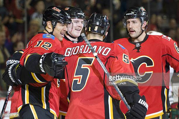 Jarome Iginla of the Calgary Flames celebrates his second period goal against the Minnesota Wild at Scotiabank Saddledome on November 29 2010 in...