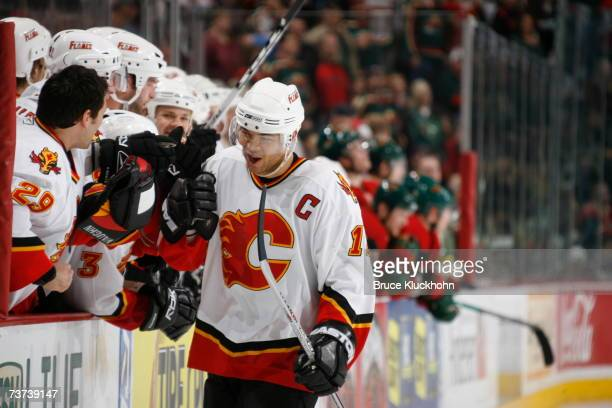 Jarome Iginla of the Calgary Flames celebrates his shootout goal against the Minnesota Wild during the game at Xcel Energy Center on March 27, 2007...