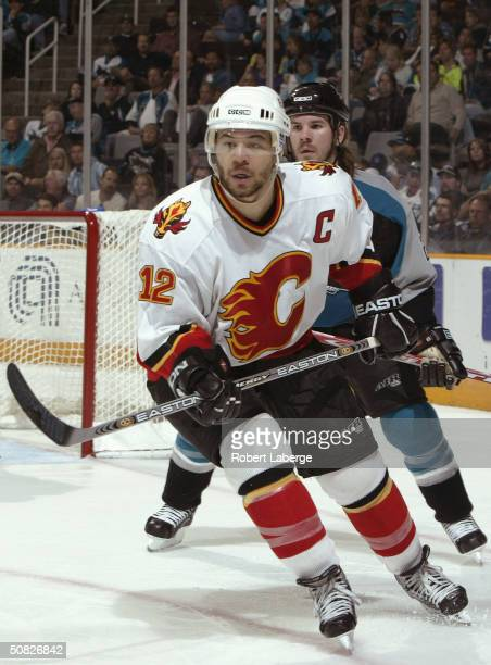 Jarome Iginla of the Calgary Flames in action against the San Jose Sharks during Game two of the 2004 NHL Western Conference Finals on May 11, 2004...