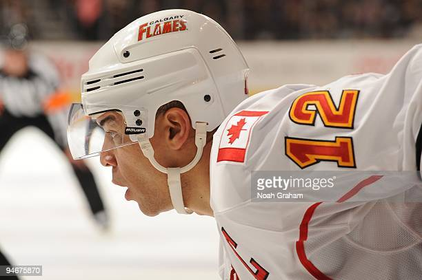 Jarome Iginla of the Calgary Flames looks on against the Los Angeles Kings at Staples Center on November 21, 2009 in Los Angeles, California.