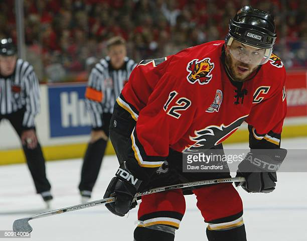 Jarome Iginla of the Calgary Flames prepares for play to begin in the second period against the Tampa Bay Lightning in game four of the NHL Stanley...