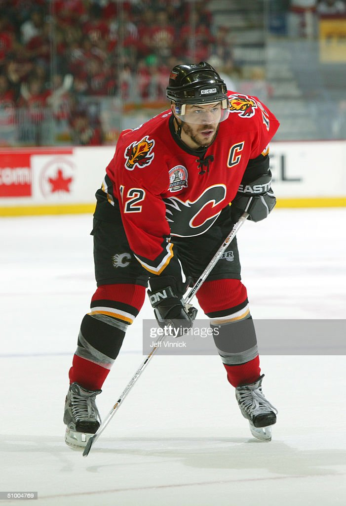 Jarome Iginla #12 of the Calgary Flames readies for a faceoff against the Tampa Bay Lightning in Game four of the NHL Stanley Cup Finals on May 31, 2004 at Pengrowth Saddledome in Calgary, Canada. The Lightning won 1-0.
