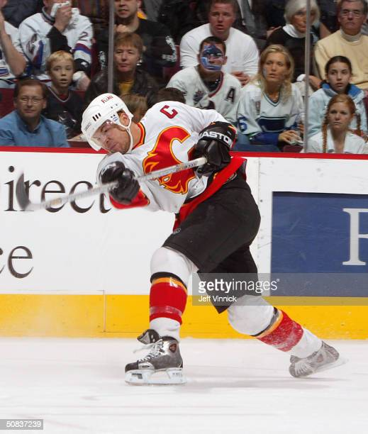 Jarome Iginla of the Calgary Flames shoots a slapshot during the game against the Vancouver Canucks in the first round of the 2004 NHL Stanley Cup...