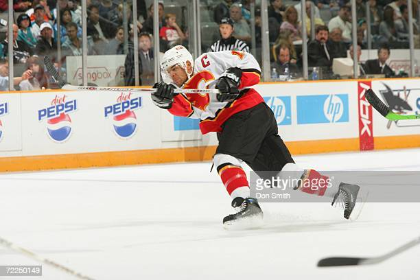 Jarome Iginla of the Calgary Flames shoots the puck during a preseason game against the San Jose Sharks on September 30 2006 at the HP Pavilion in...