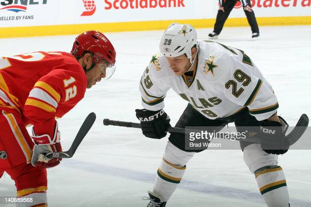 Jarome Iginla of the Calgary Flames skates against Steve Ott of the Dallas Stars on March 4, 2012 at the Scotiabank Saddledome in Calgary, Alberta,...