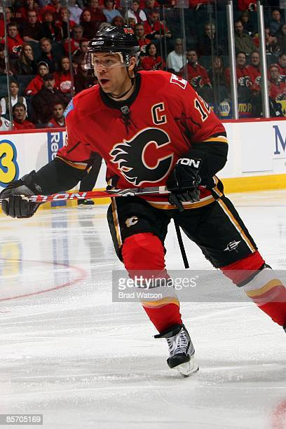 Jarome Iginla of the Calgary Flames skates against the Detroit Red Wings on March 23, 2009 at Pengrowth Saddledome in Calgary, Alberta, Canada. The...