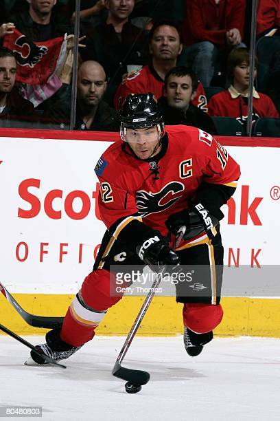 Jarome Iginla of the Calgary Flames skates against the Edmonton Oilers on March 29 2008 at Pengrowth Saddledome in Calgary Alberta Canada The Oilers...