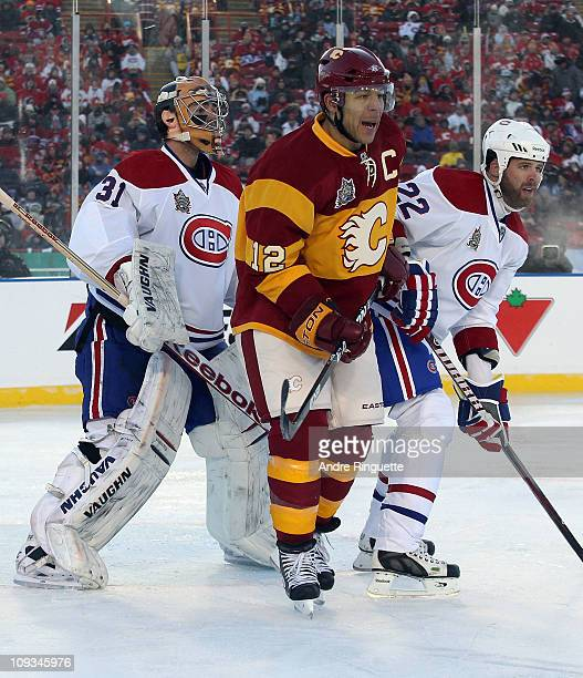 Jarome Iginla of the Calgary Flames skates against the Montreal Canadiens during the 2011 NHL Heritage Classic Game at McMahon Stadium on February 20...