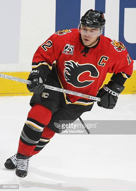 Jarome Iginla of the Calgary Flames skates against the Ottawa Senators during the NHL game at Pengrowth Saddledome on December 10 2005 in Calgary...