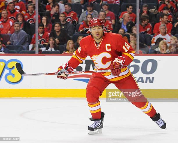 Jarome Iginla of the Calgary Flames skates against the Phoenix Coyotes during an NHL game at Scotiabank Saddledome on February 24 2013 in Calgary...