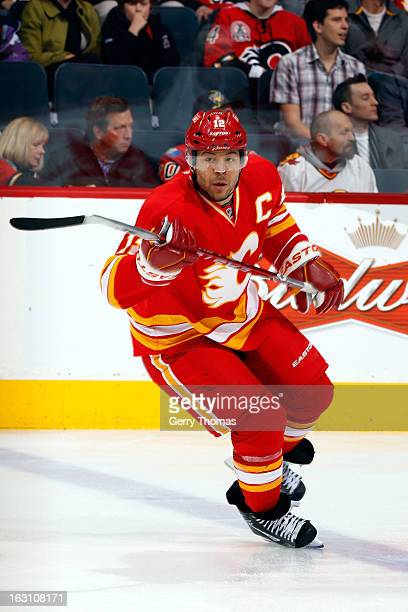 Jarome Iginla of the Calgary Flames skates against the Phoenix Coyotes on February 24 2013 at the Scotiabank Saddledome in Calgary Alberta Canada The...